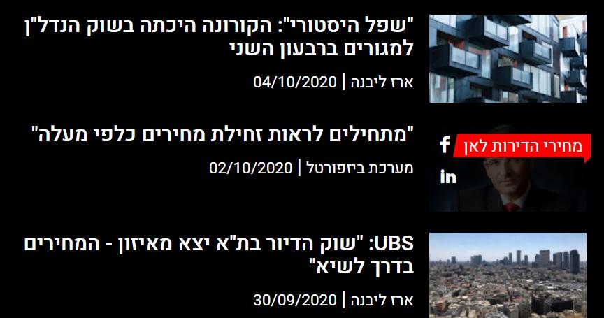 כותרות עיתונים בנושא מחירי נדלן
