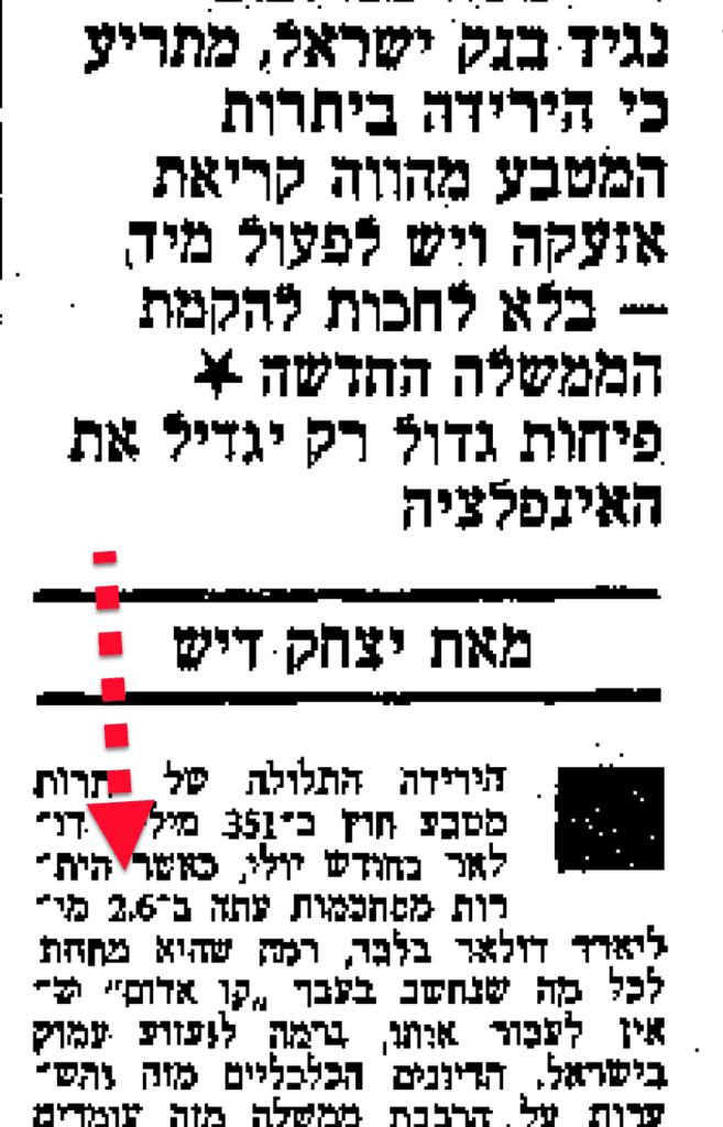 יתרות מטבע חוץ של ישראל הולכות להגמר. מאמר במעריב 1984